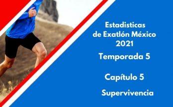 Estadísticas de Exatlón México 2021, Temporada 5, Capítulo 5, Superviviencia, Domingo 22 de agosto 2021